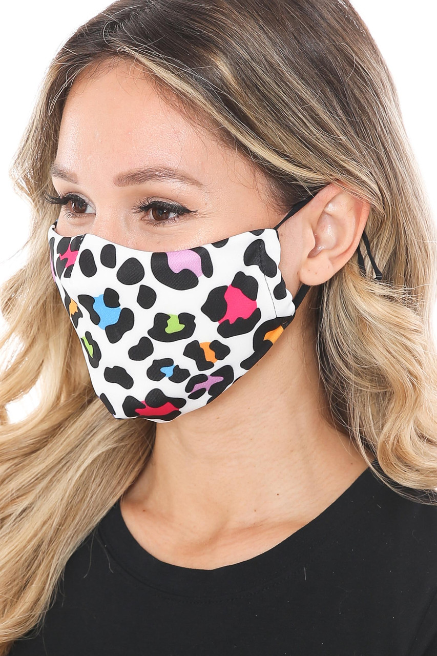 Left side of Colorful Leopard Spots Graphic Print Face Mask