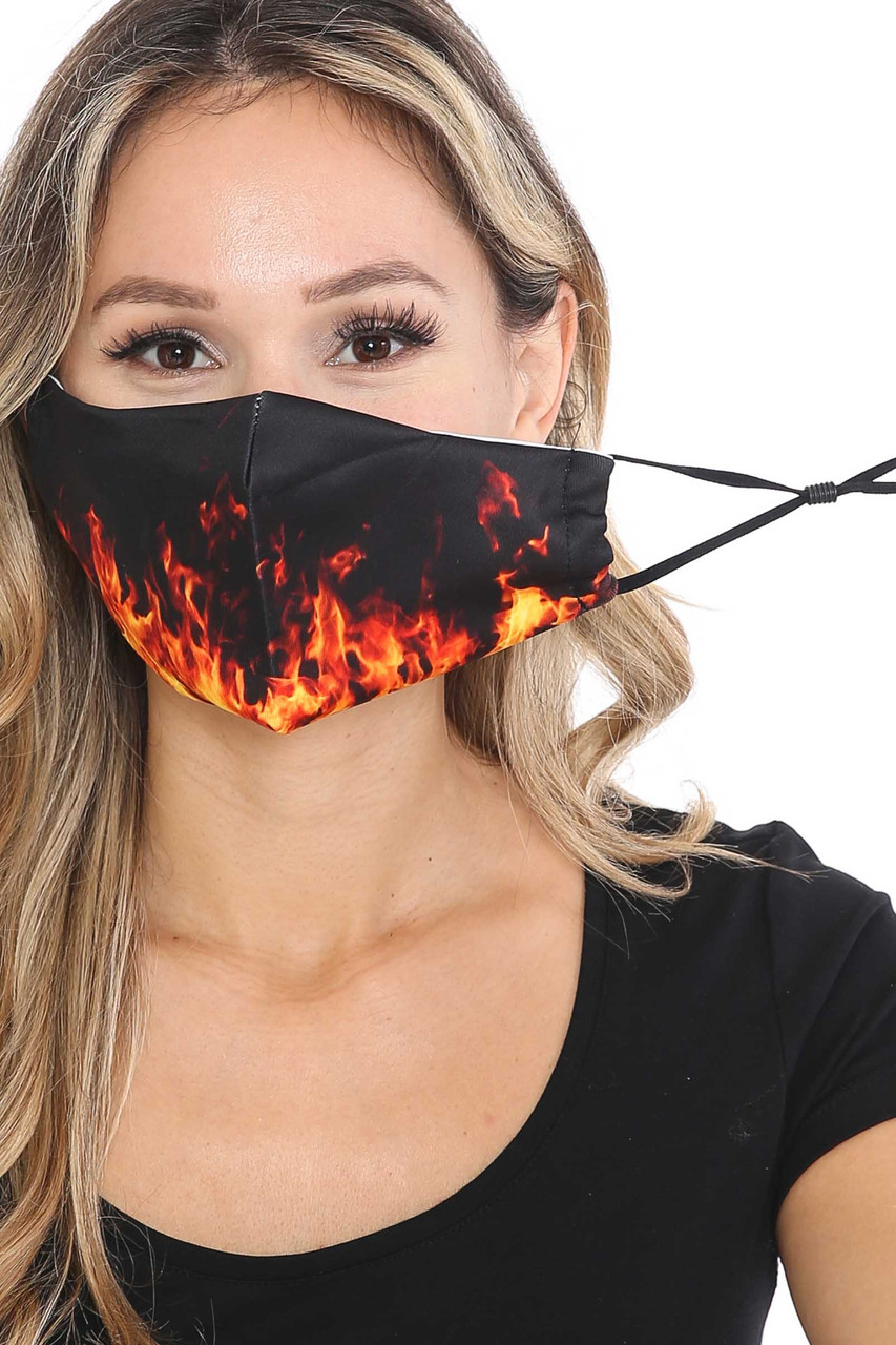 Front view of Fire Graphic Print Face Mask with adjustable ear strings