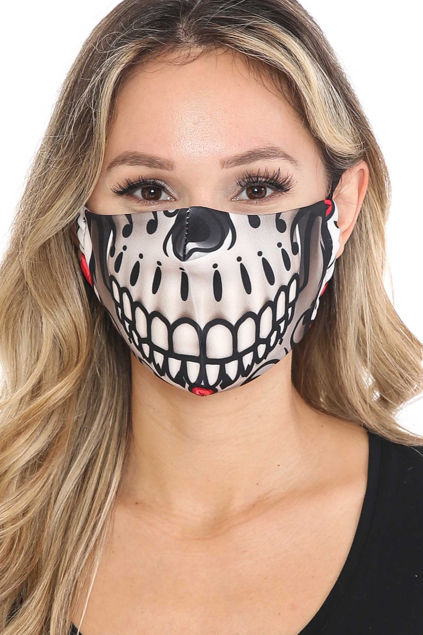 Front of Smiling Sugar Skull Graphic Print Face Mask