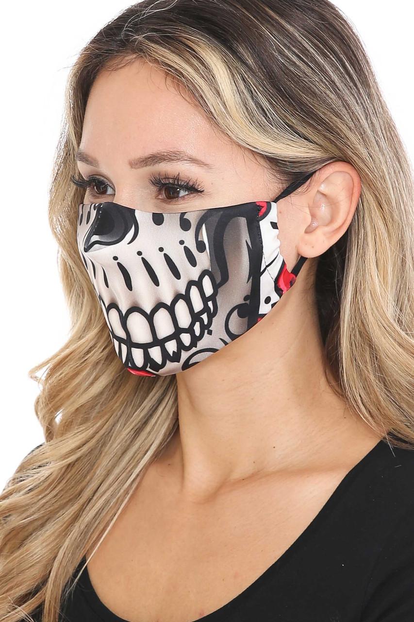 Left side of Smiling Sugar Skull Graphic Print Face Mask