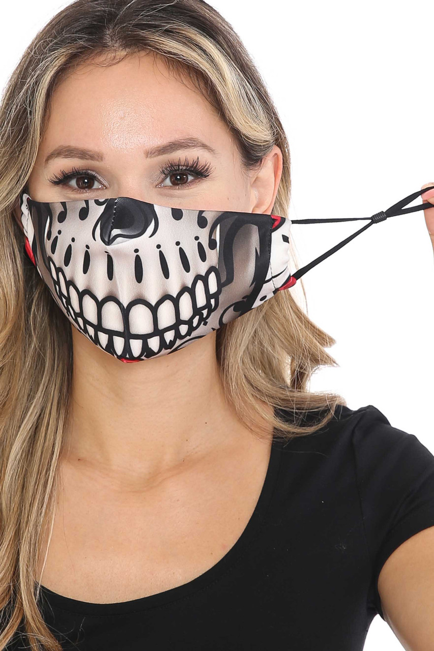 Front of Smiling Sugar Skull Graphic Print Face Mask showing adjustable ear strings