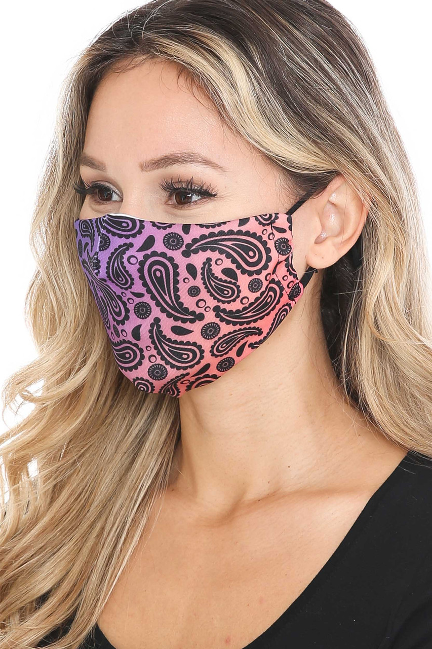 Left side of Ombre Paisley Graphic Print Face Mask