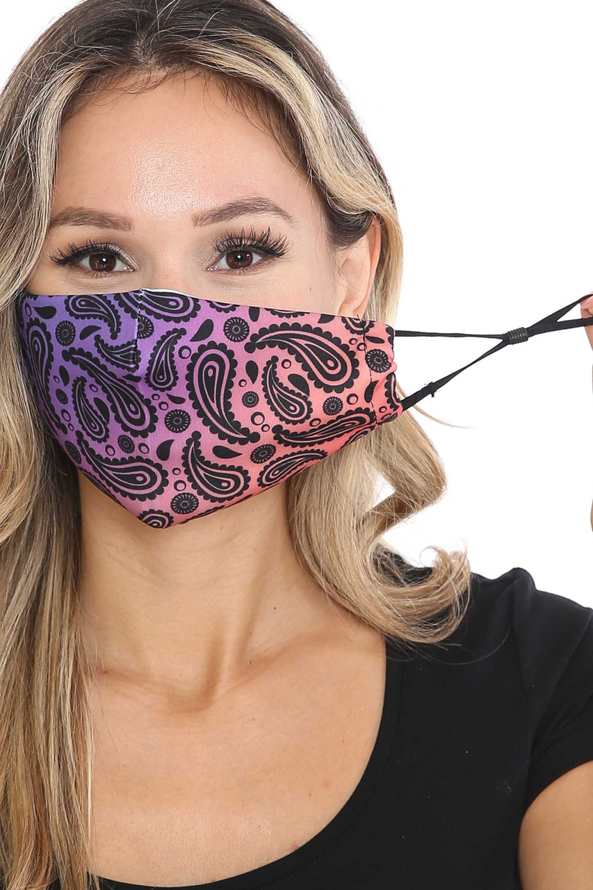 Front of Ombre Paisley Graphic Print Face Mask with adjustable ear strings