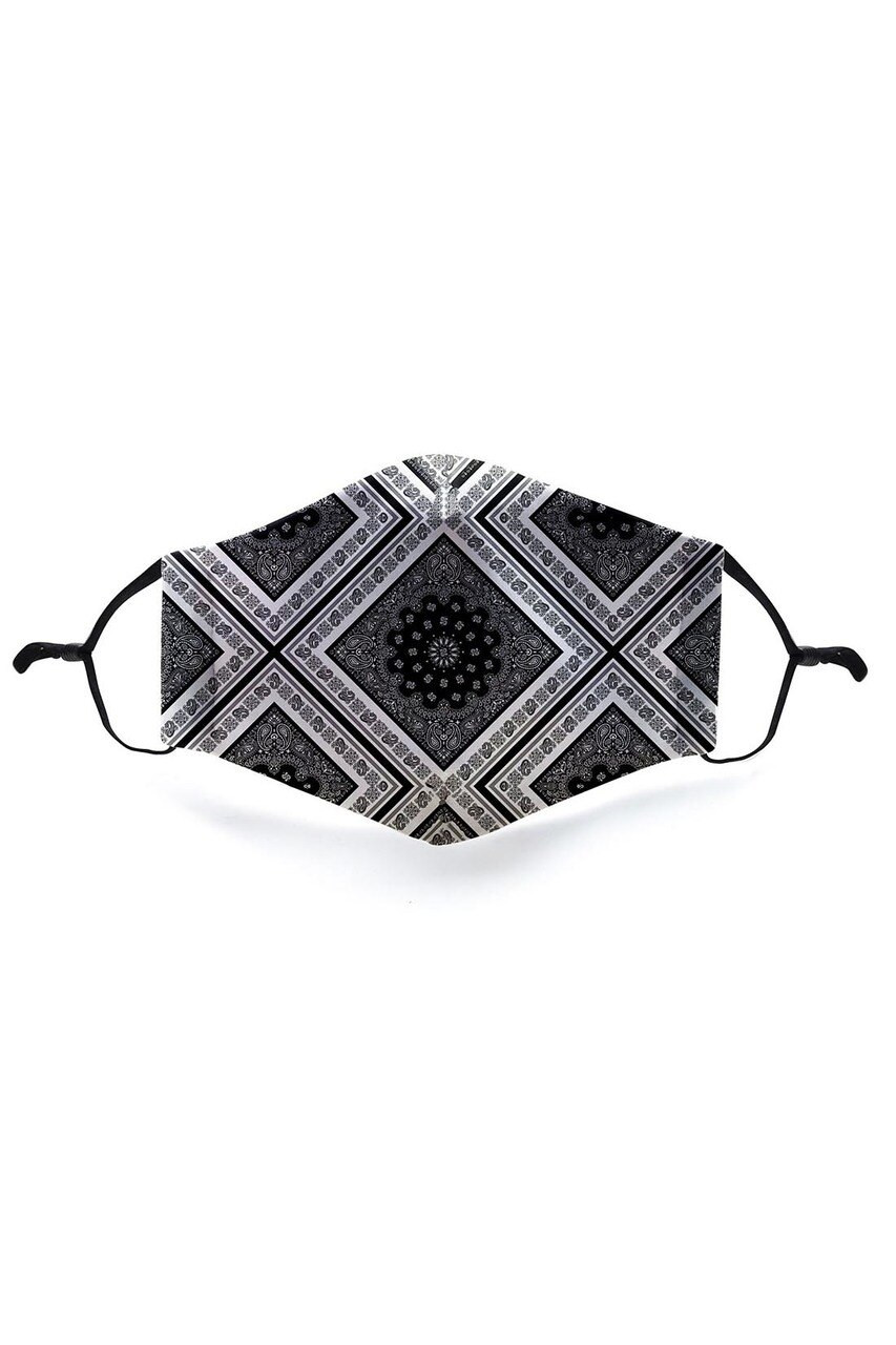 Front view of Symmetrical Bandana Graphic Face Mask featuring a classic black and white paisley design.