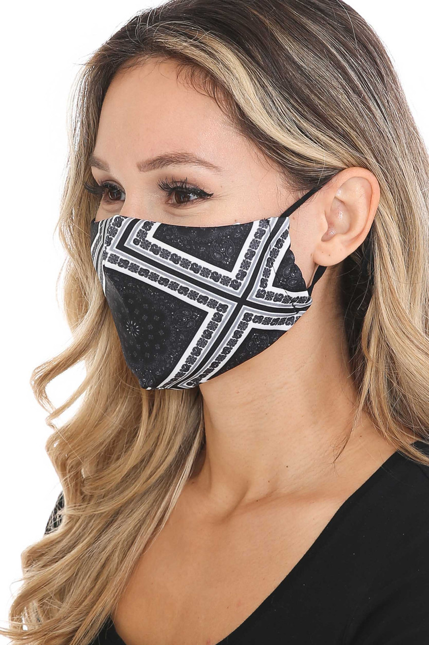 Left side view of Symmetrical Bandana Graphic Face Mask