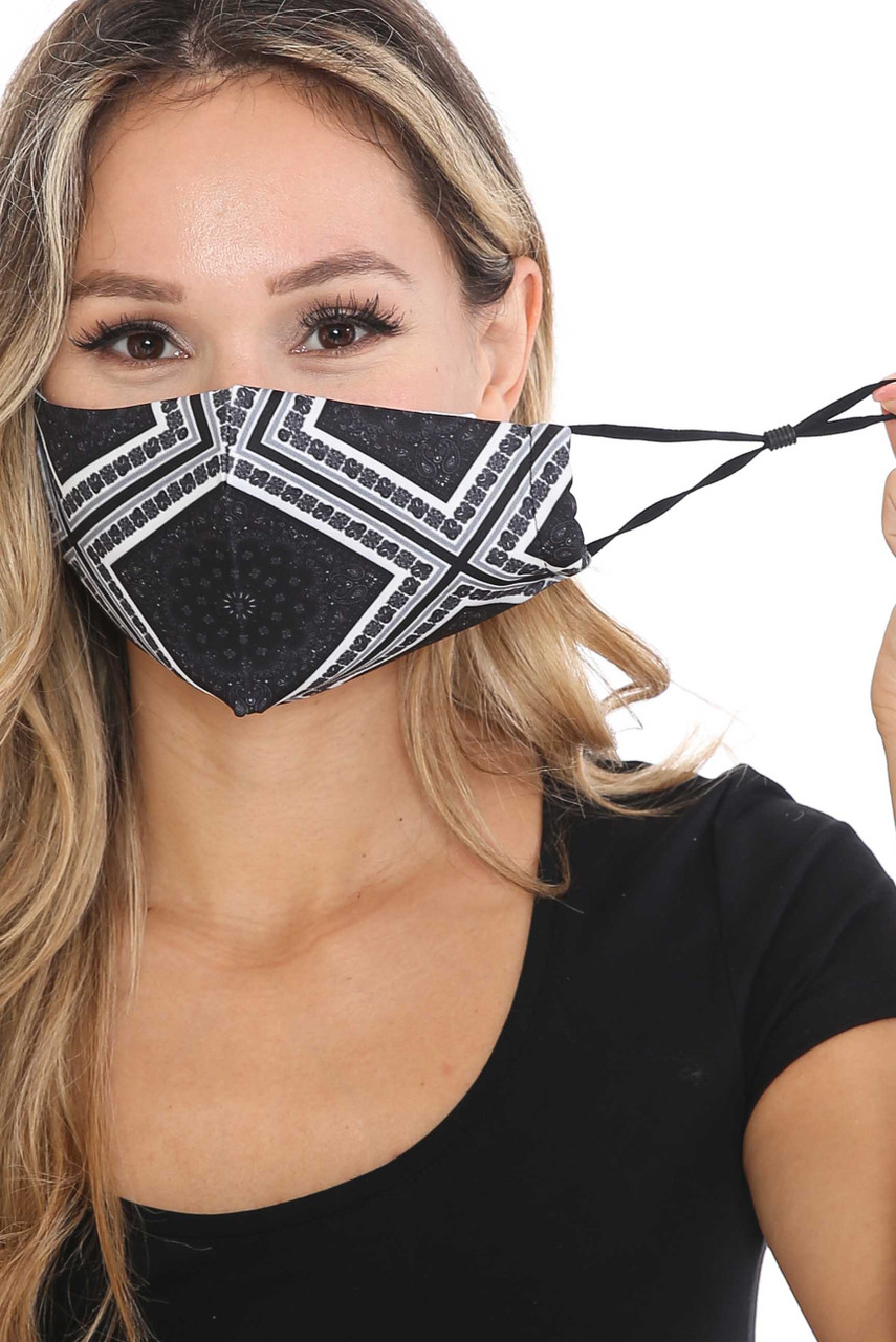 Front view of Symmetrical Bandana Graphic Face Mask with adjustable ear strings