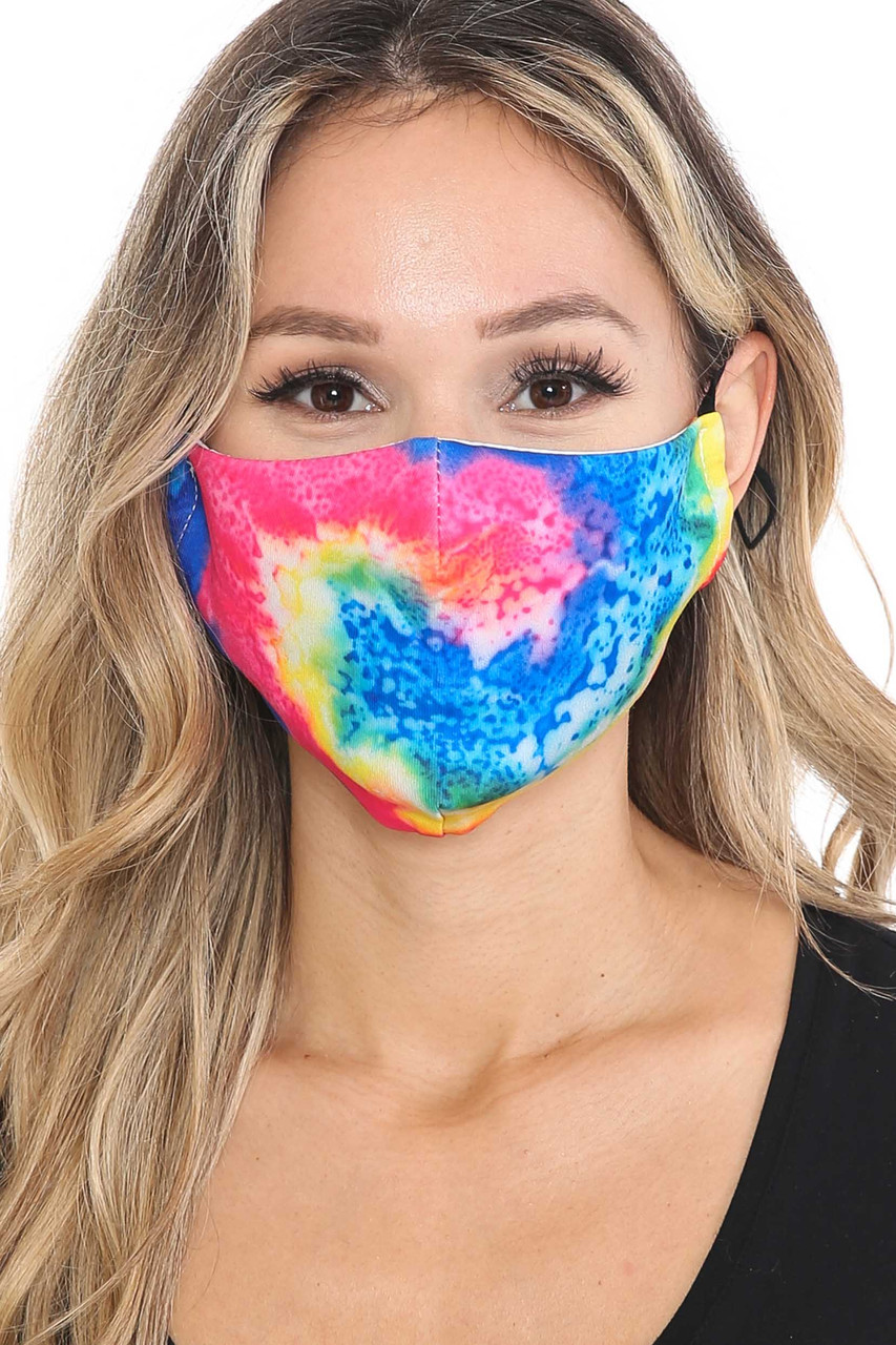 Front of Colorful Twisting Tie Dye Graphic Print Face Mask