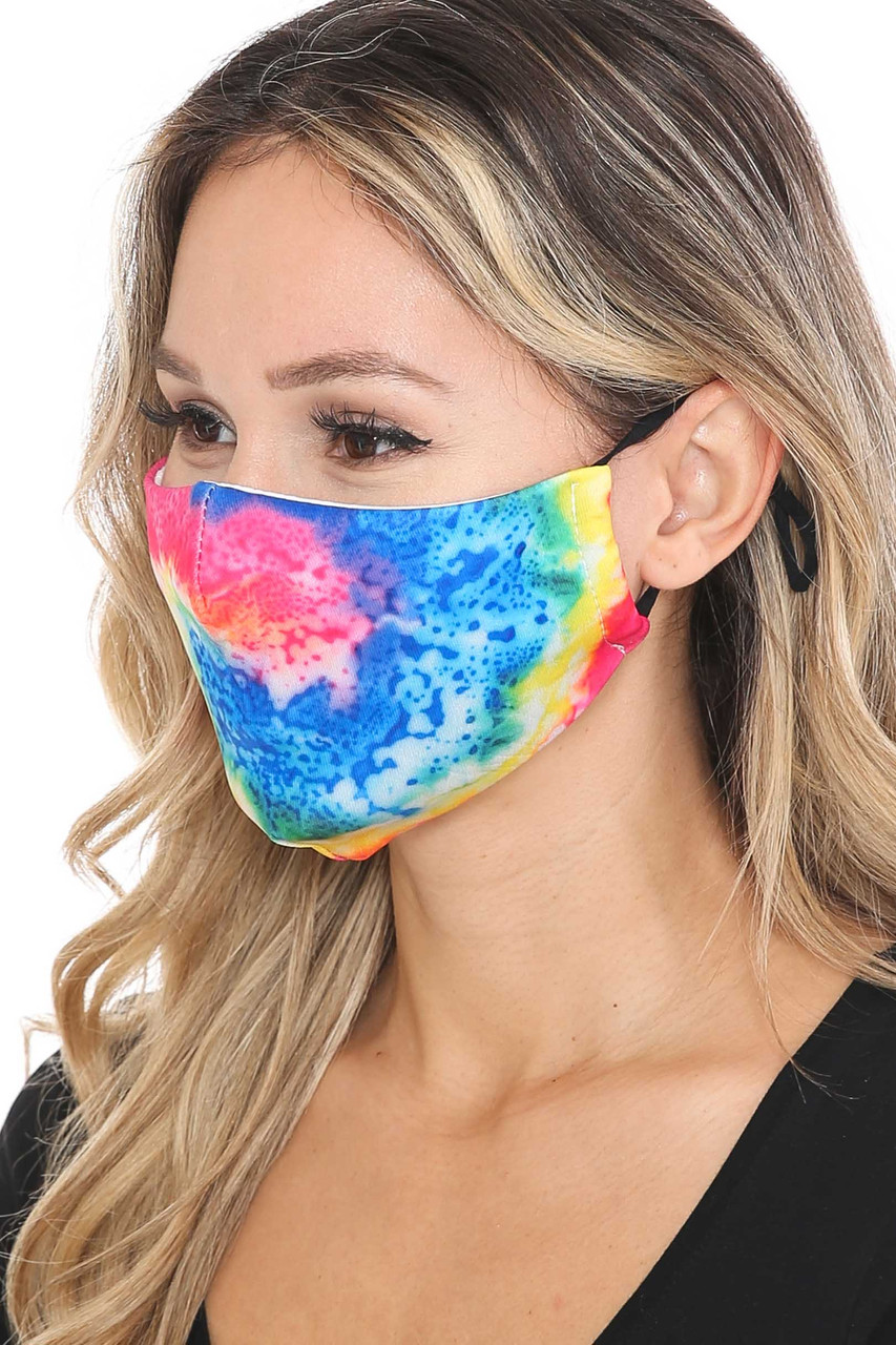 Left side view of Colorful Twisting Tie Dye Graphic Print Face Mask