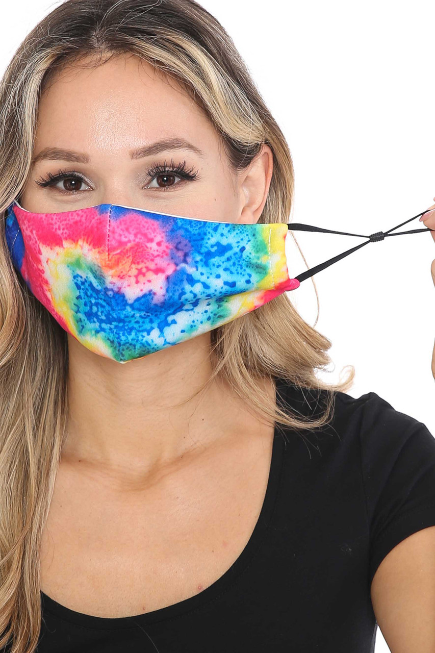 Front view of Colorful Twisting Tie Dye Graphic Print Face Mask showing adjustable ear strings