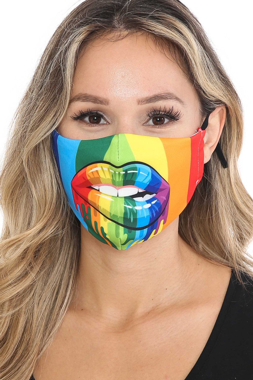 Front view of Rainbow Hollywood Lips Graphic Print Face Mask