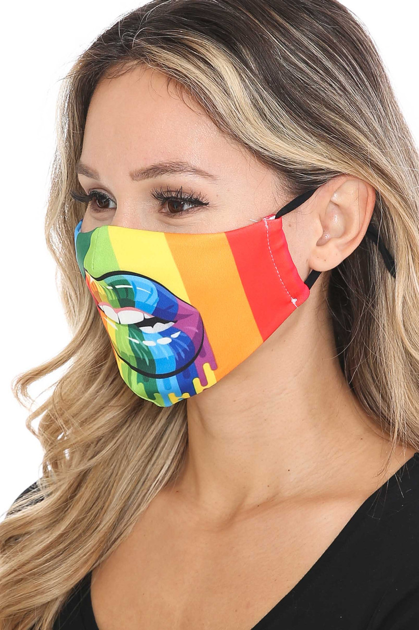 Left side view of Rainbow Hollywood Lips Graphic Print Face Mask