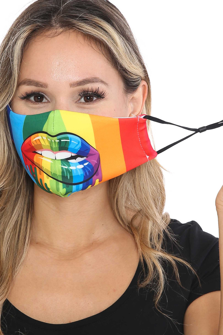 Front view of Rainbow Hollywood Lips Graphic Print Face Mask with adjustable ear strings