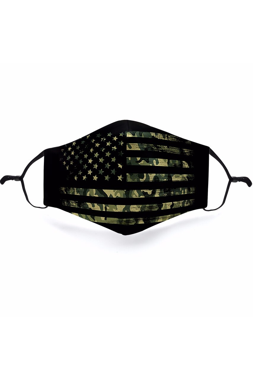 Flat view of Camouflage USA Flag Graphic Print Face Mask featuring a black American Flag  silhouette with a green camo background.