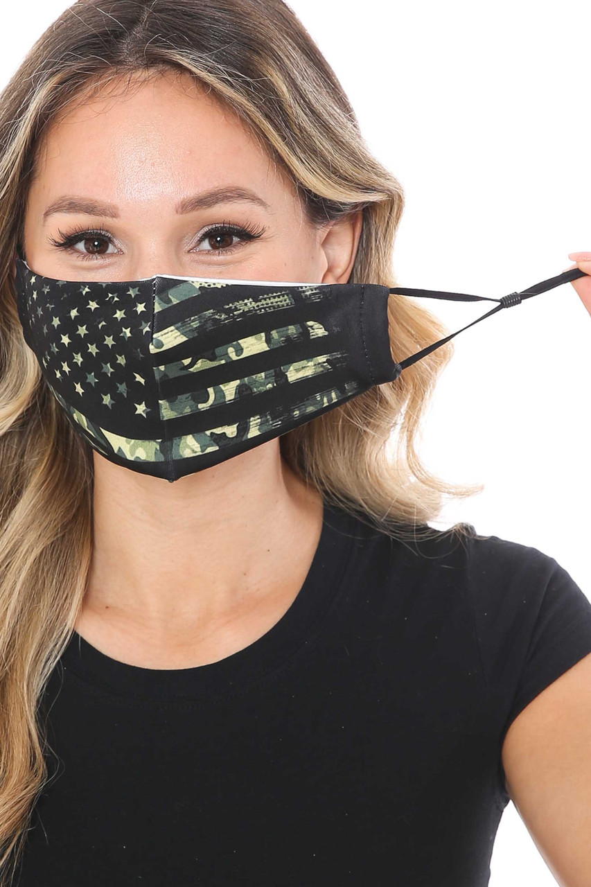 Front of USA Flag Graphic Print Face Mask showing adjustable ear string sizing