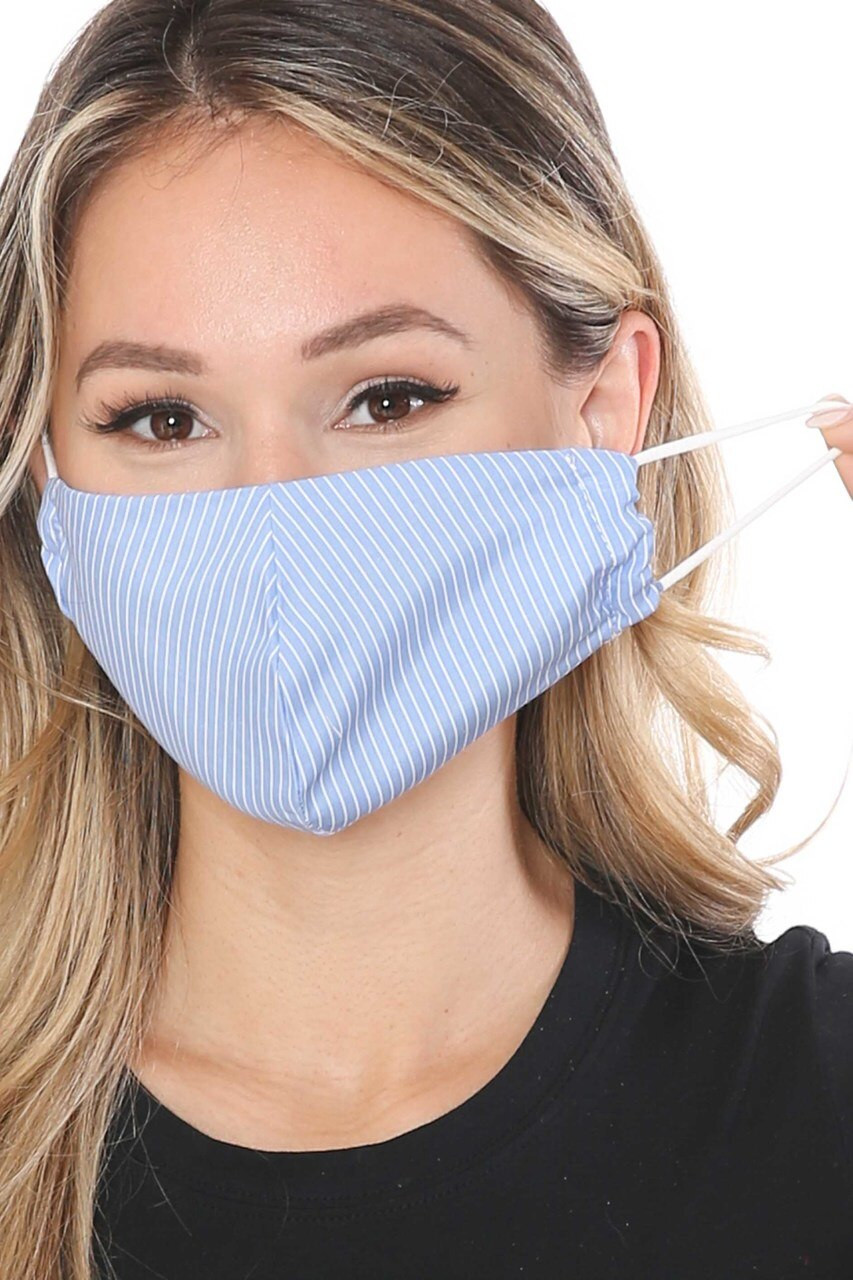 Blue Thin Vertical Stripe Face Mask - Made in USA with white elastic ear strings