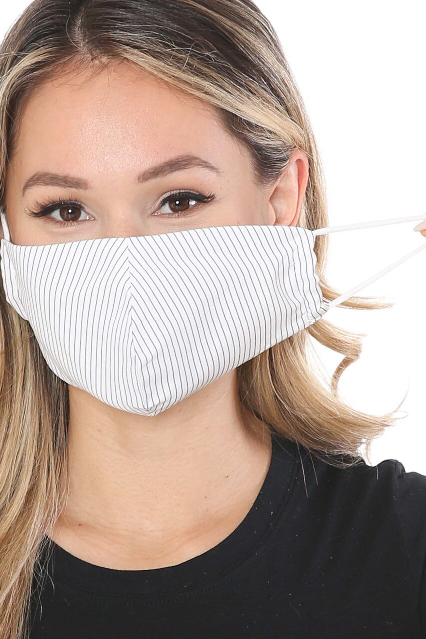 White Thin Vertical Stripe Face Mask - Made in USA with white elastic ear strings