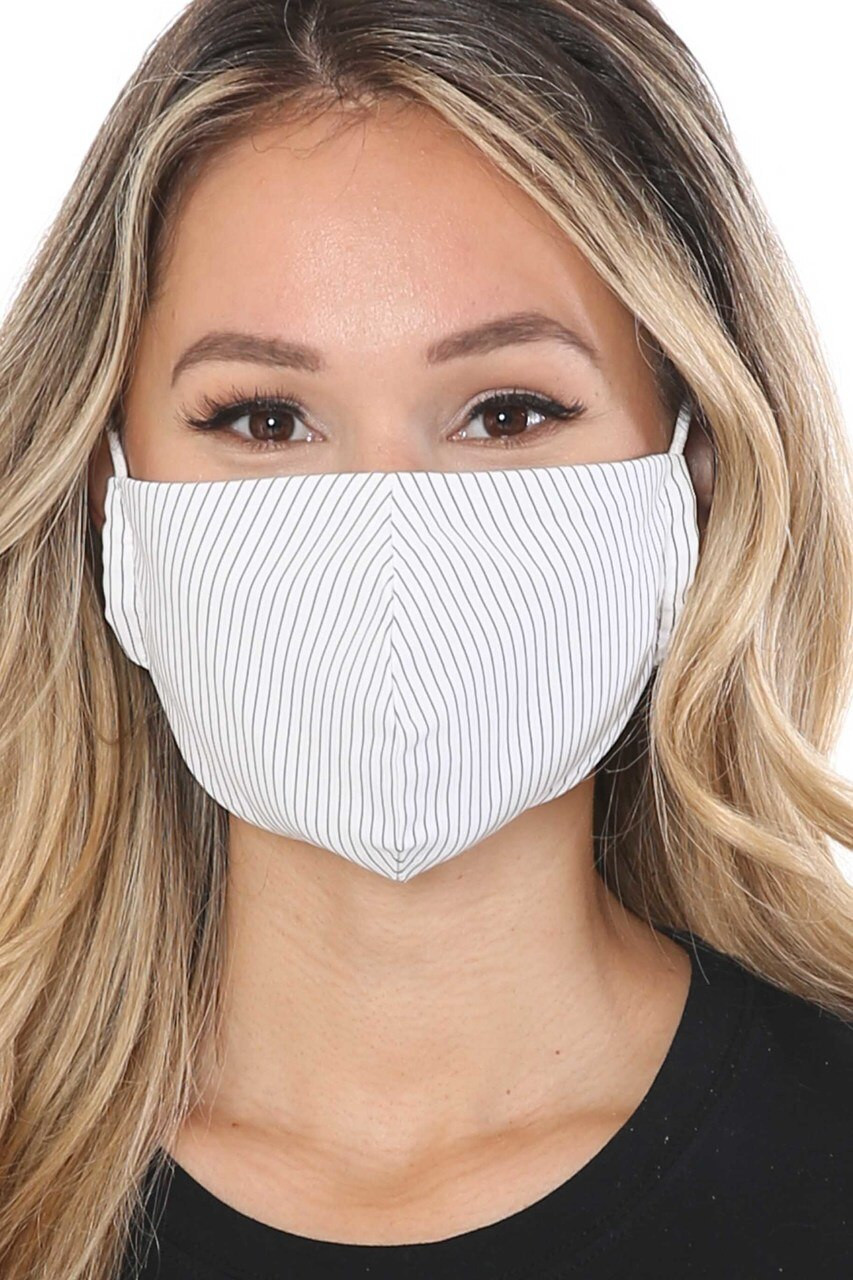 Front view of White Thin Vertical Stripe Face Mask - Made in USA