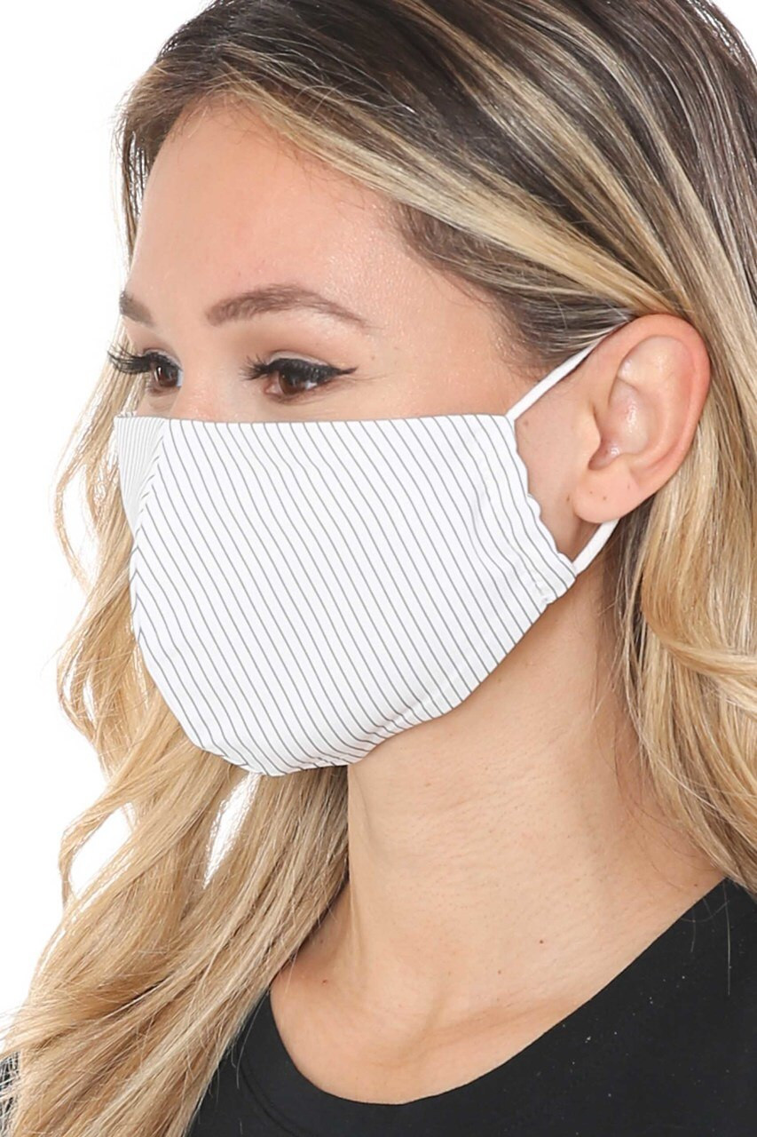 Left side view of  White Thin Vertical Stripe Face Mask - Made in USA