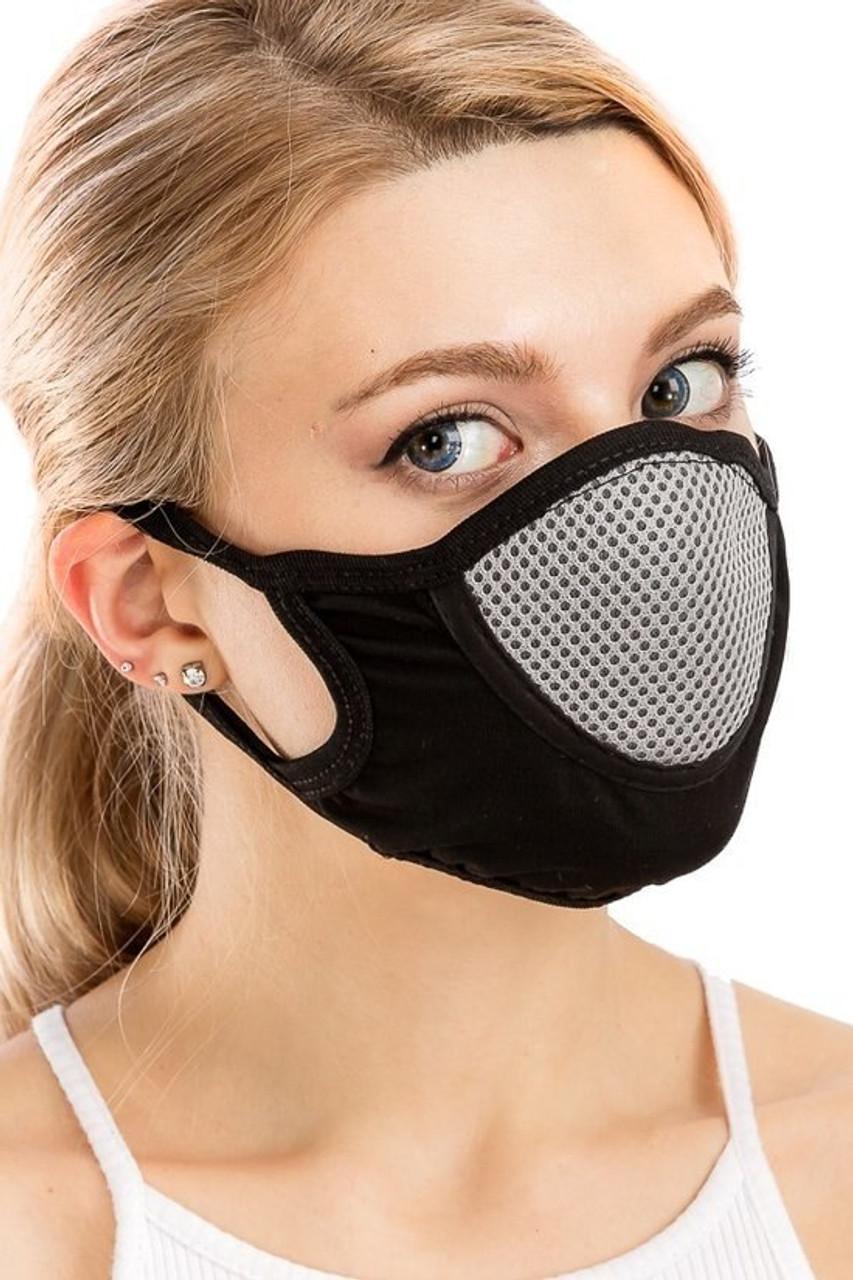 Heather Gray Unisex Multi Layer Fabric Mesh Comfort Face Mask