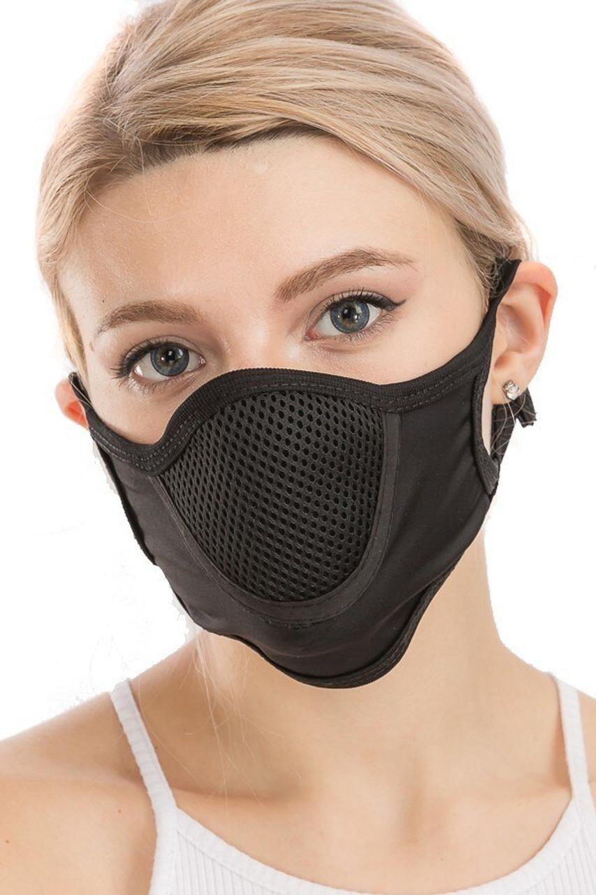 Black Unisex Multi Layer Fabric Mesh Comfort Face Mask