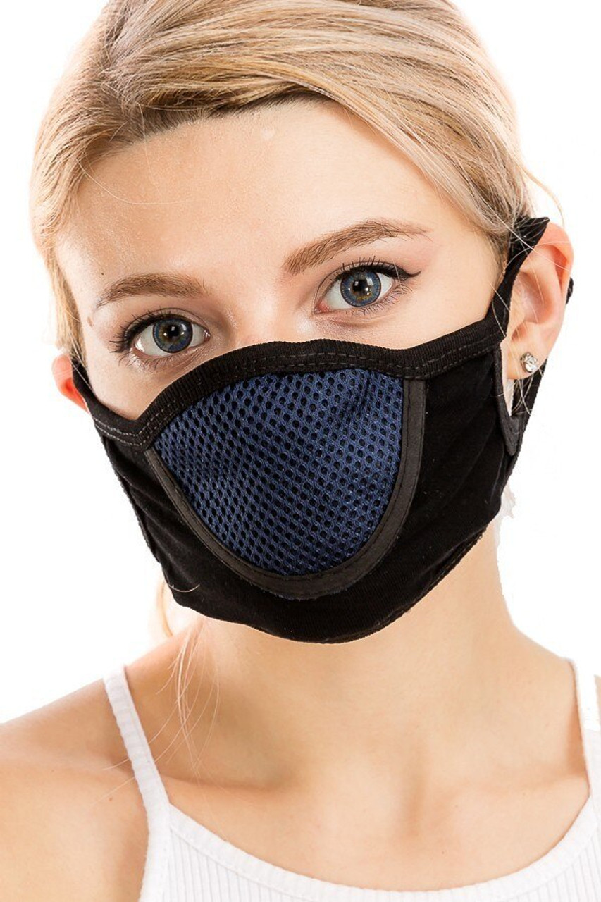 Navy Unisex Multi Layer Fabric Mesh Comfort Face Mask