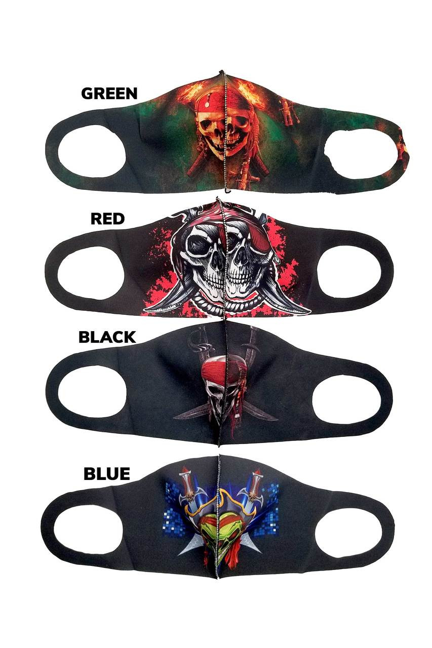 All colors of Reusable Single Ply Pirate Face Masks pictured together.