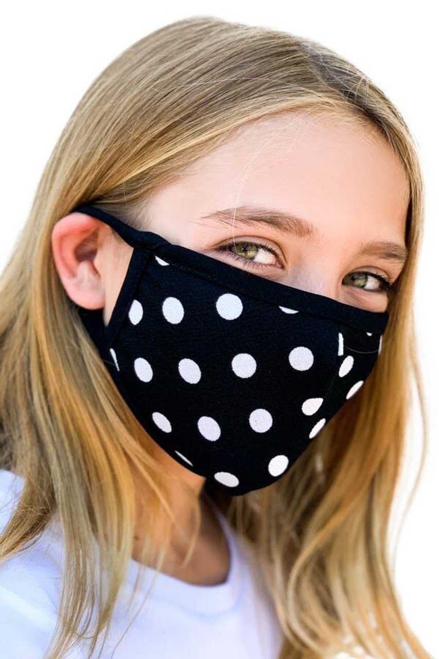 Left side view of Kid's Polka Dot Face Mask - Made in the USA