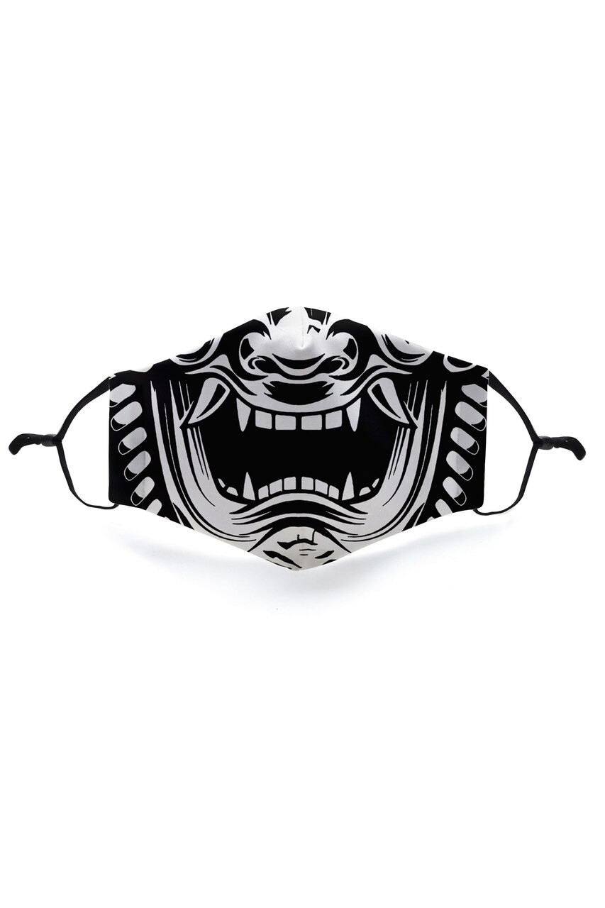 Front view of Evil Phantom Graphic Face Mask featuring a horror mouth design.