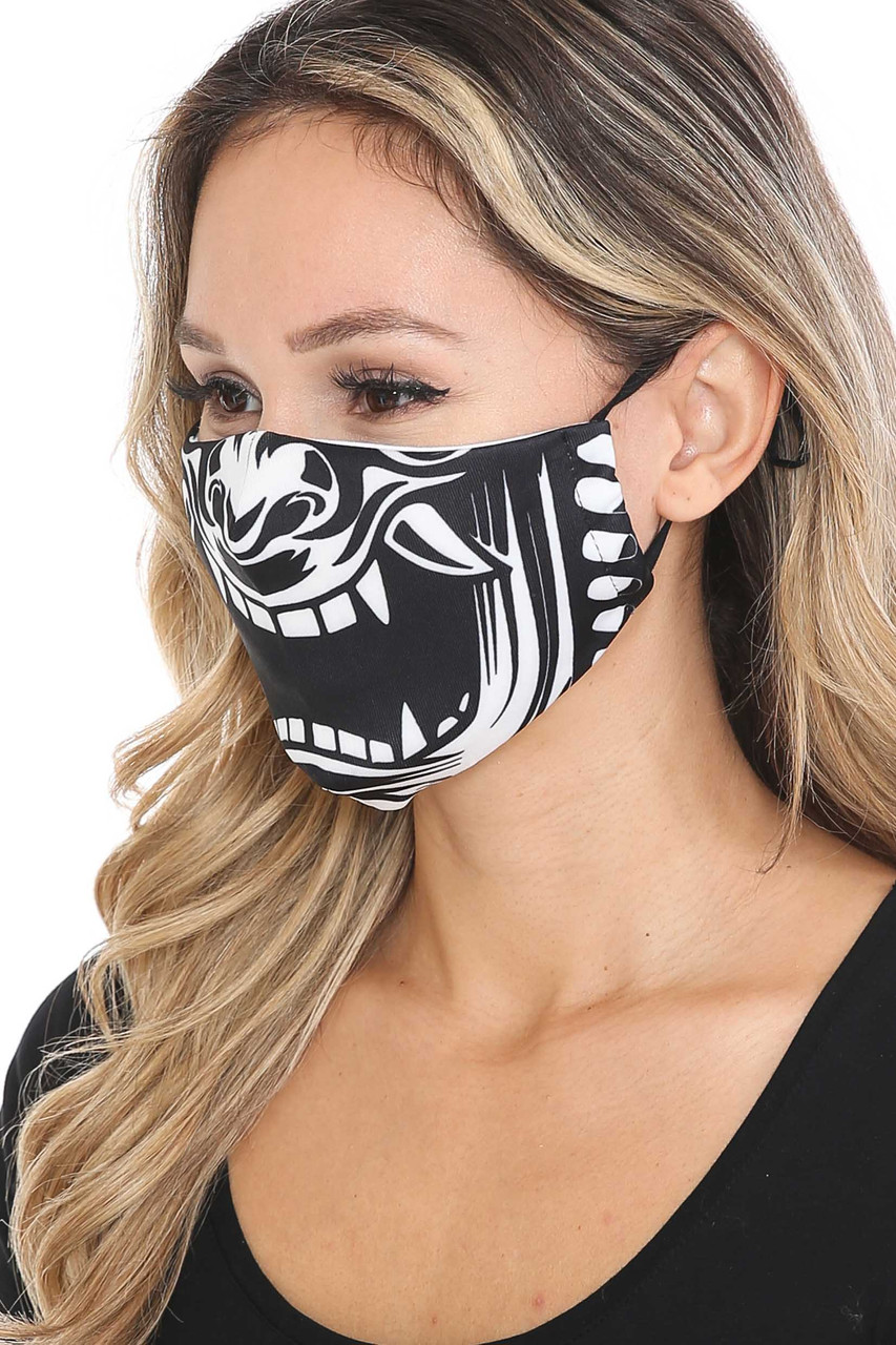 Left side view of Evil Phantom Graphic Face Mask