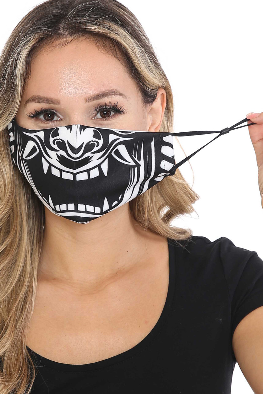 Front of Evil Phantom Graphic Face Mask with adjustable ear strings