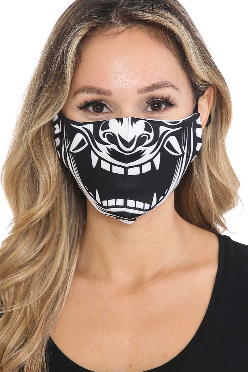 Front view of Evil Phantom Graphic Face Mask