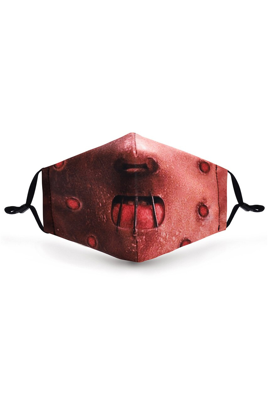 Front view of Hannibal Graphic Print Face Mask featuring a horror mouth design.