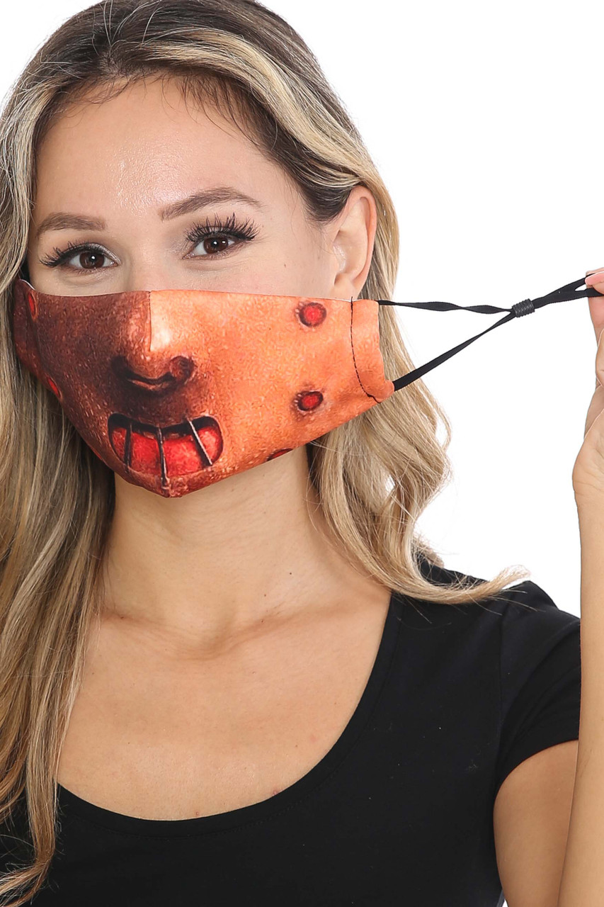 Front of Hannibal Graphic Print Face Mask showing adjustable ear strings