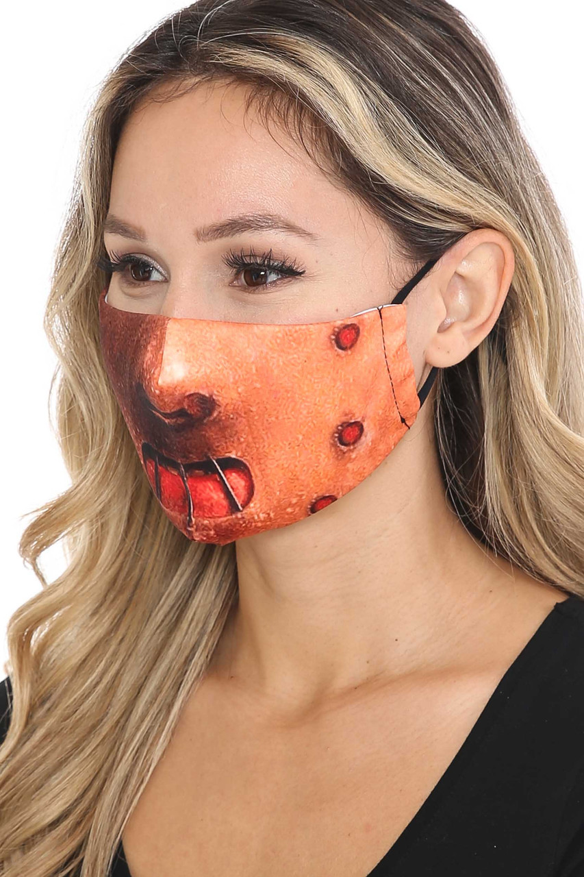 Left view of Hannibal Graphic Print Face Mask