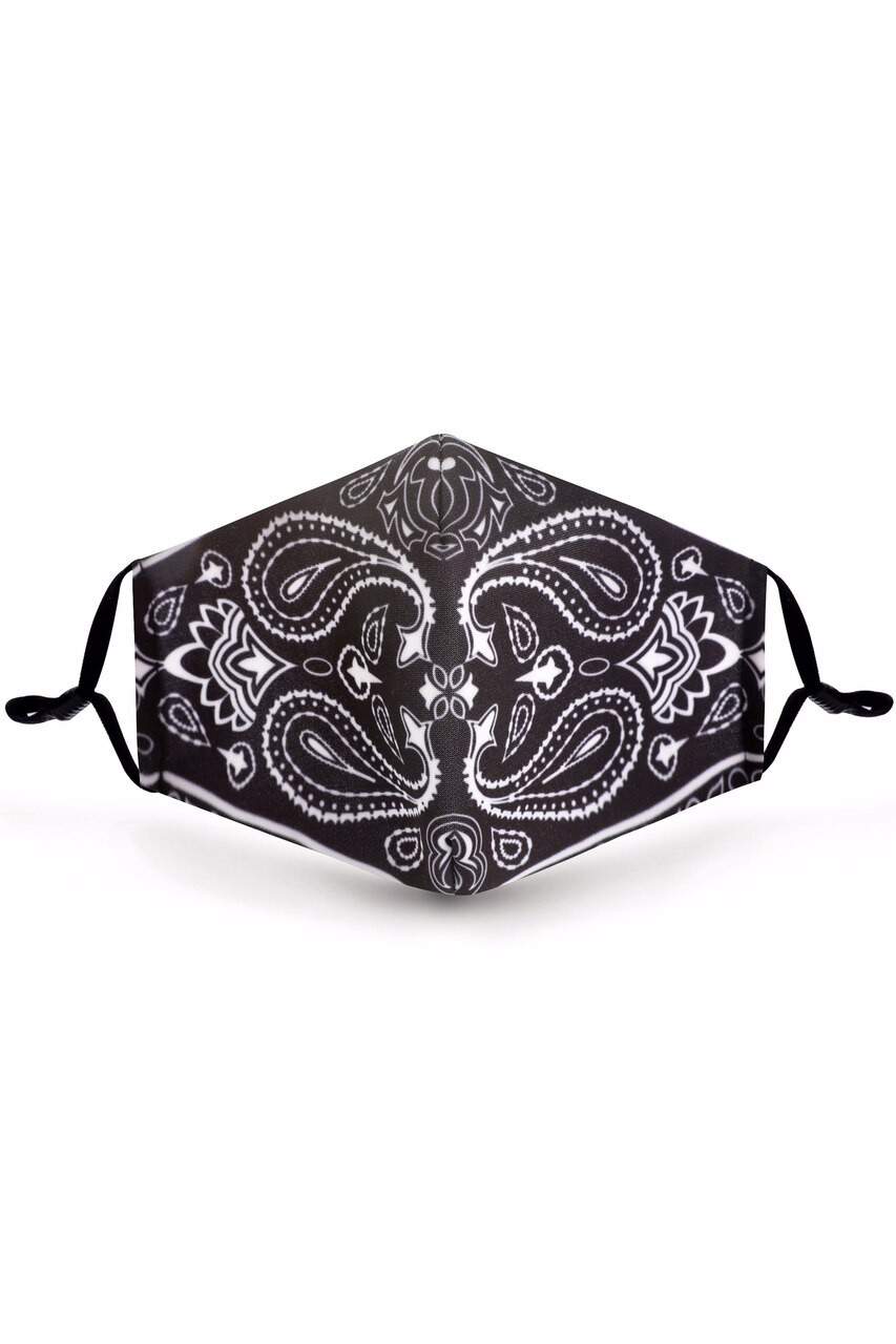 Front of Mirror Reflection Bandana Graphic Face Mask with a black and white symmetrical paisley design.