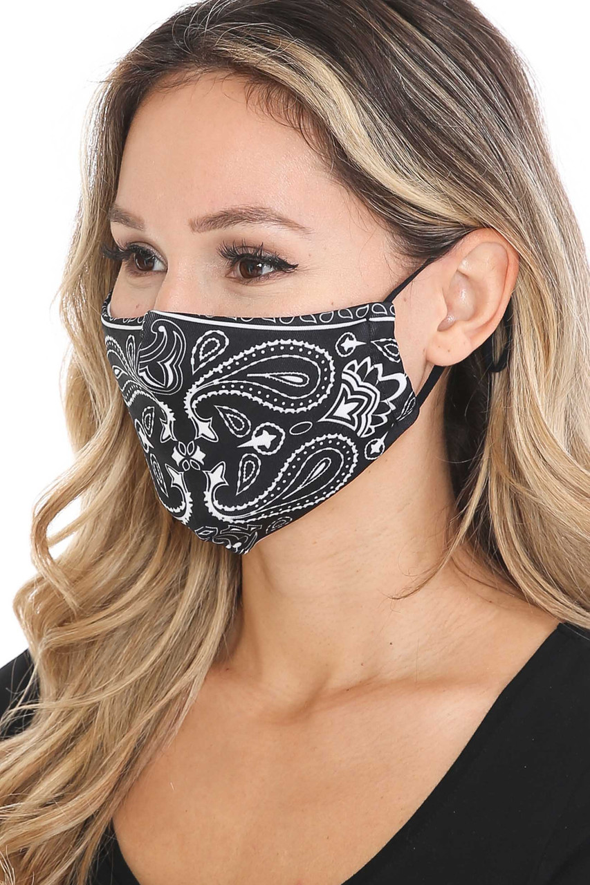 Left side view of Mirror Reflection Bandana Graphic Face Mask