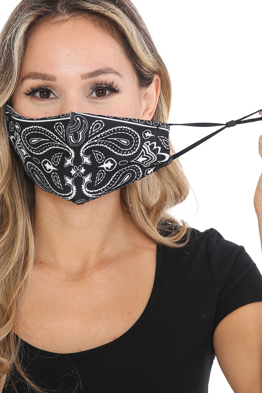 Front of Mirror Reflection Bandana Graphic Face Mask showing adjustable ear strings