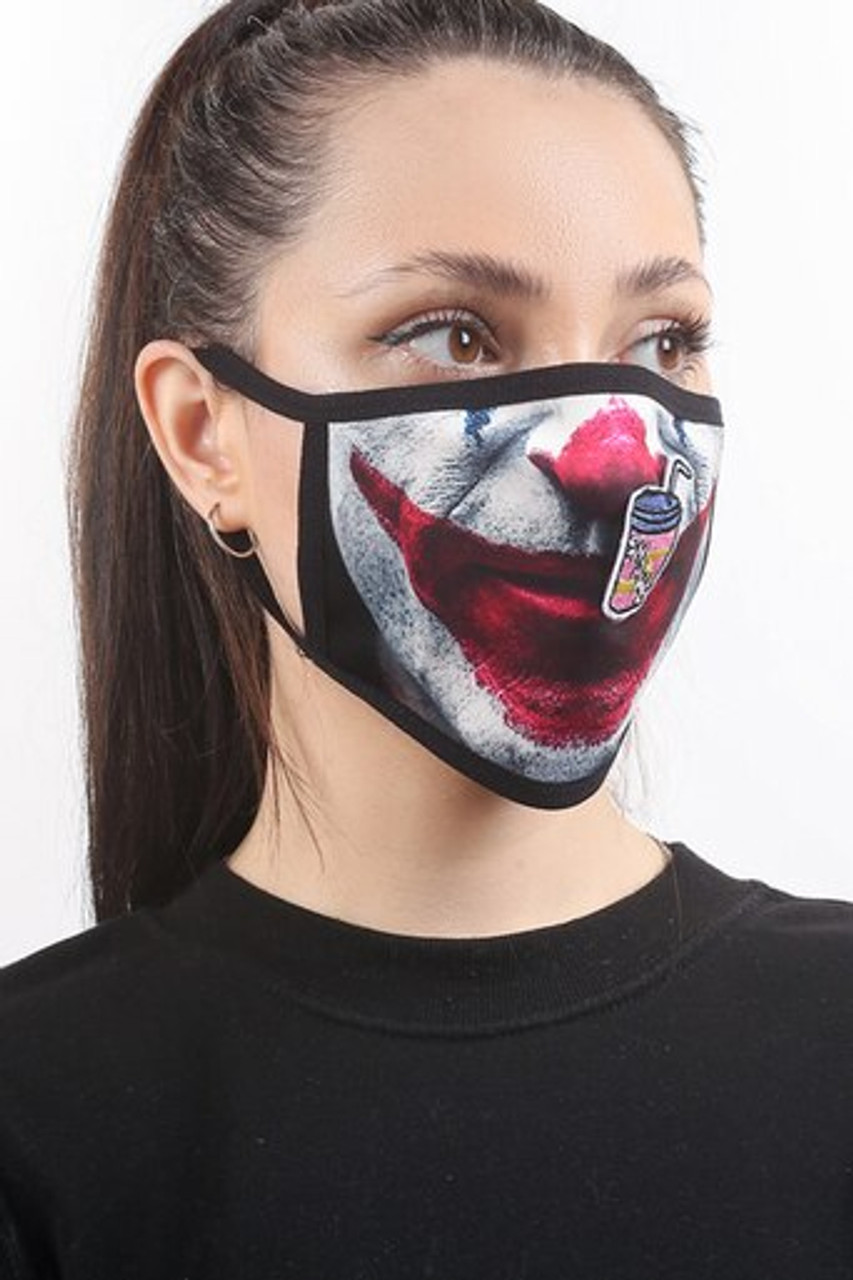 Right side view of Joker Graphic Print Face Mask with Magnetic Straw Hole