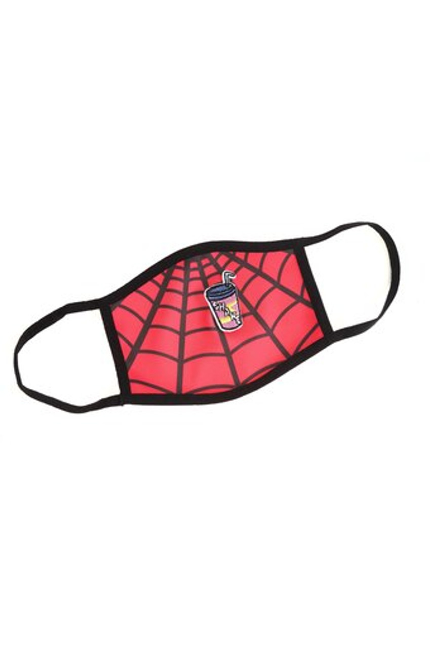 Stand alone view of Spiderman Web Graphic Print Face Mask with Magnetic Straw Hole with a red and black web design.