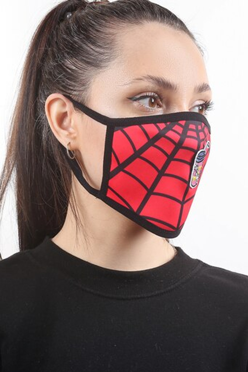 Right side view of Spiderman Web Graphic Print Face Mask with Magnetic Straw Hole