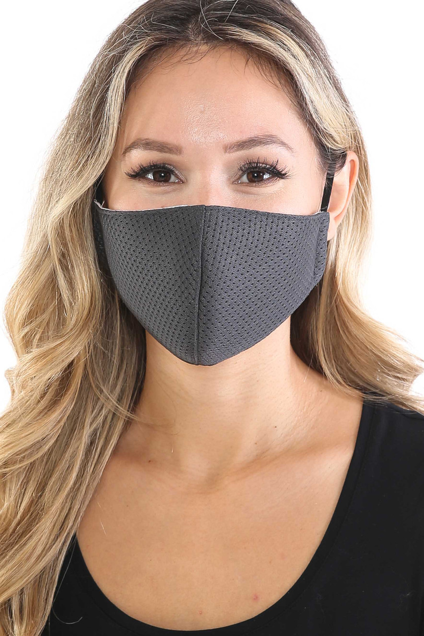 Charcoal Breath Easy Perforated Mesh Face Mask with PM2.5 Rear Pocket