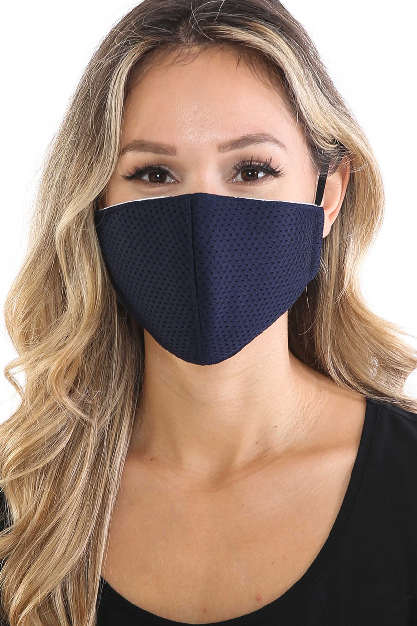 Navy Breath Easy Perforated Mesh Face Mask with PM2.5 Rear Pocket