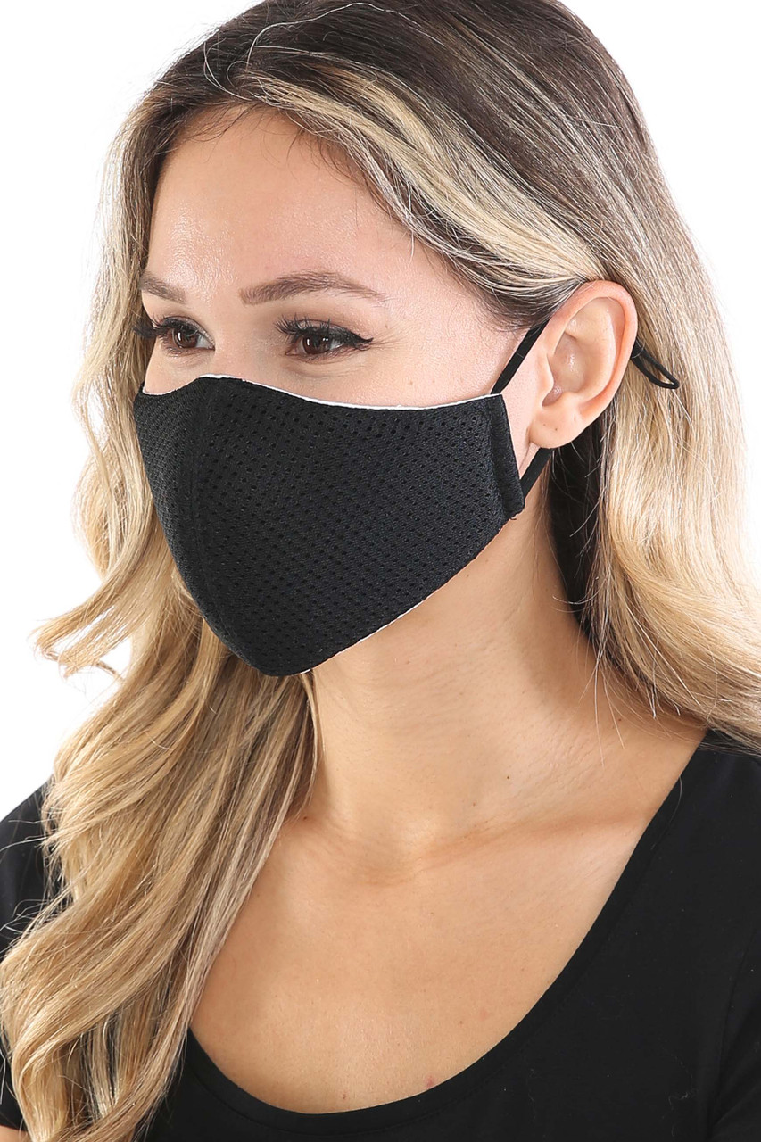 Left side view of Black Breath Easy Perforated Mesh Face Mask with PM2.5 Rear Pocket