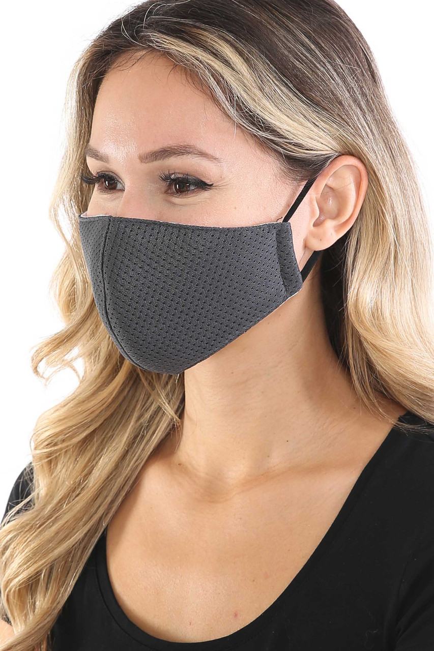 Left side view of Charcoal Breath Easy Perforated Mesh Face Mask with PM2.5 Rear Pocket