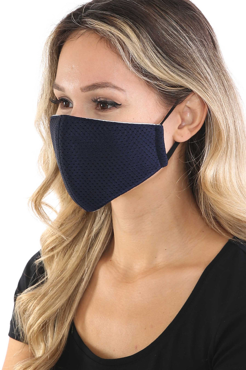 Left side view of Navy Breath Easy Perforated Mesh Face Mask with PM2.5 Rear Pocket