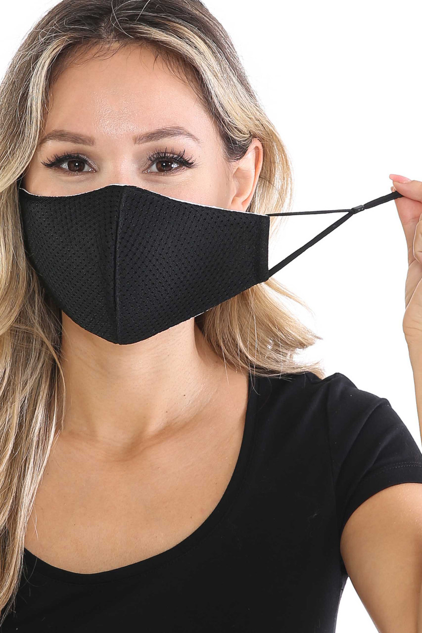 Front view of Black Breath Easy Perforated Mesh Face Mask with PM2.5 Rear Pocket with adjustable ear strings.