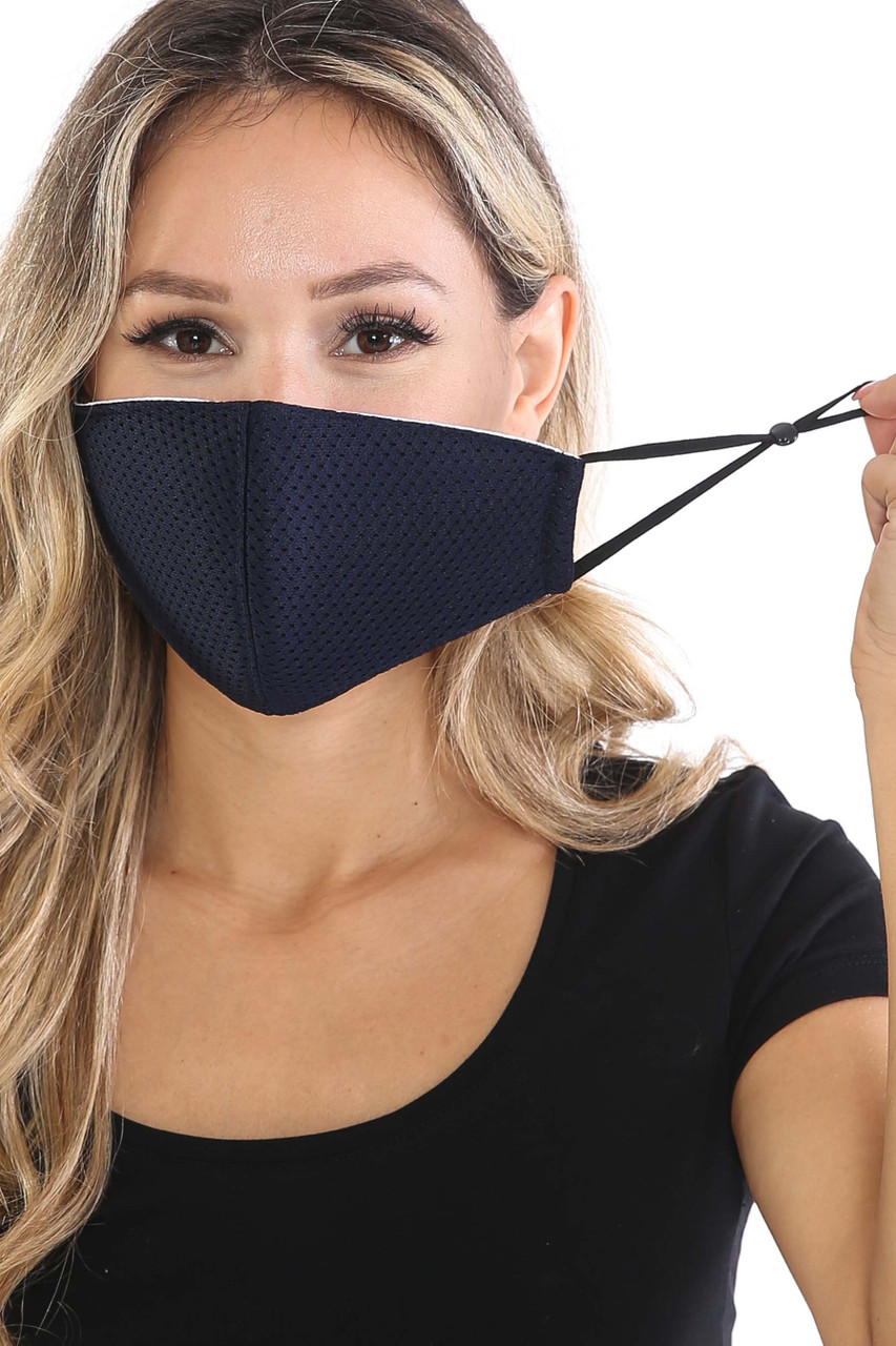 Front view of Navy Breath Easy Perforated Mesh Face Mask with PM2.5 Rear Pocket with adjustable ear strings.