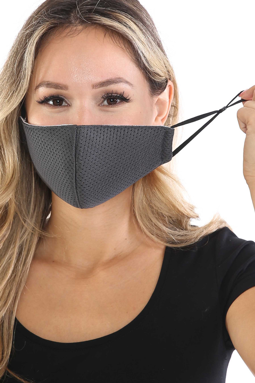 Front view of Charcoal Breath Easy Perforated Mesh Face Mask with PM2.5 Rear Pocket with adjustable ear strings.