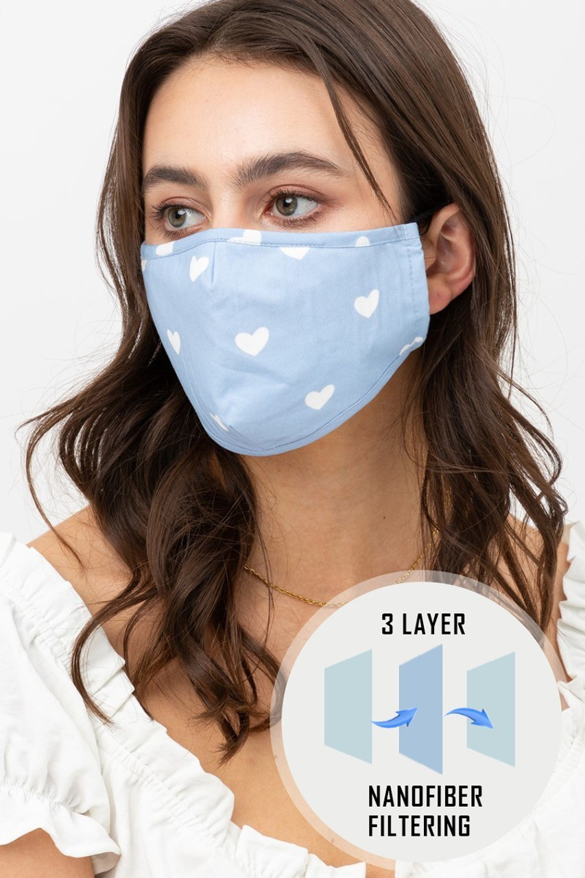 Blue Tiny Hearts Face Mask with Built In Micro Filter and Nose Bar