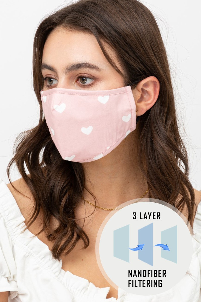 Pink Tiny Hearts Face Mask with Built In Micro Filter and Nose Bar